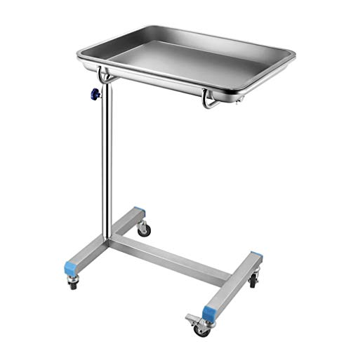 LM Mobile Stainless Steel Tray Stand, Medical Salon Tattoo Equipment Adjustable Trolley, Height Adjustment Range:77-110cm(30.31-43.31inch)