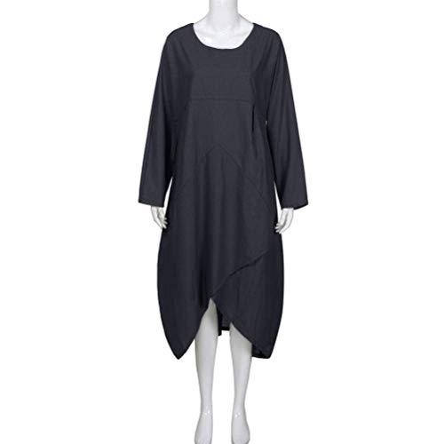 Manches Fille Uni Printemps Femme Confortables Robe Mode lgant Chemisier Chemise Irrgulier Longues Manche De Robe Col Rond Jeune Classique Robe Schwarz Robe Party Lin Mode q4wHgvW5cc