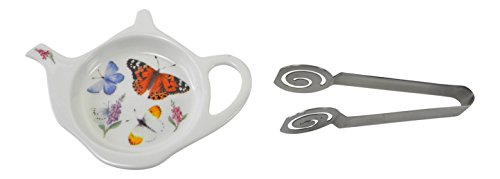 Roy Kirkham Bone China Butterfly Tea Bag Tidy and Stainless