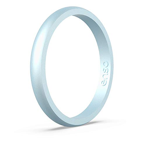 Enso Rings Halo Birthstone Silicone Ring | Made in The USA | Lifetime Quality Guarantee | Comfortable, Breathable, and Safe (Diamond, 8) ()