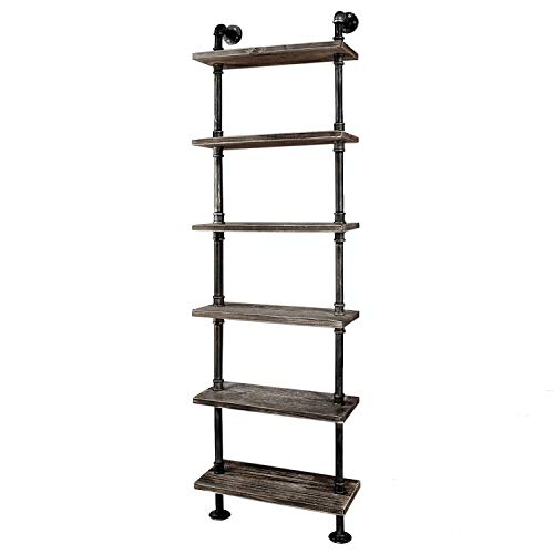 Diwhy Industrial Rustic Modern Wood Ladder Pipe