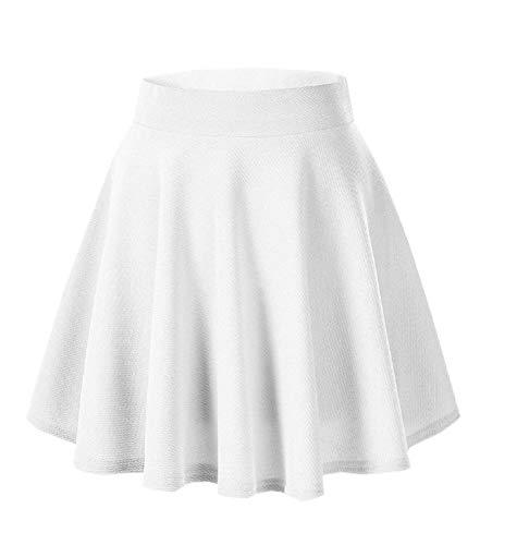 Afibi Girls Casual Mini Stretch Waist Flared Plain Pleated Skater Skirt (Small, White)