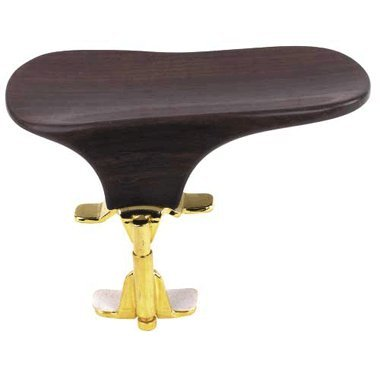 (SAS Rosewood Chinrest for 3/4-4/4 Violin or Viola with 35mm Plate Height and Goldplated Bracket)