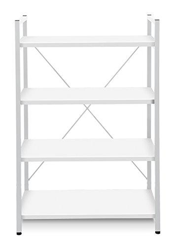 Unique Furniture 213-WH Metal Frame Bookcase, White