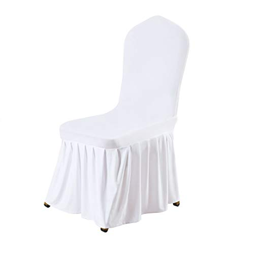 uxcell Stretch Spandex Round Top Dining Room Chair Covers Long Ruffled Skirt Slipcovers for Shorty Chair Seat Covers White -