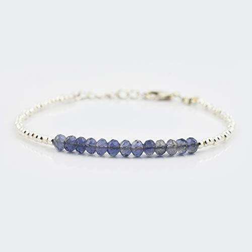 Iolite Rondelle faceted Beads Bracelet with 925 Silver beads & clasp 6.50