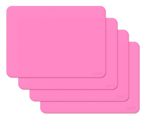 - gasare, Silicone Placemats, Kids Placemats, Non-slip, Waterproof, Very Flexible, Silicone,16 x 12 Inches, Set of 4, Pink
