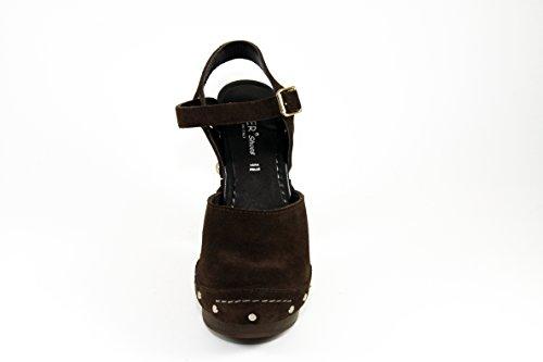 Zoccolo legno colore SilferShoes e in vero pelle marrone con di fibbia camoscio dqwwOTtvW