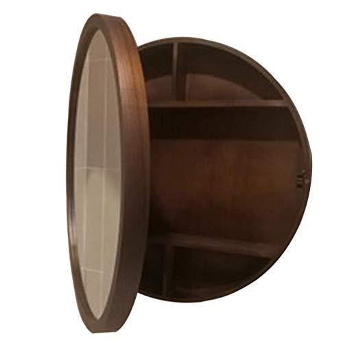 SDK Round Bathroom Mirror Cabinet, Bathroom Wall Storage Cabinet Mirror Medicine Cabinet with Slow-Close Wooden Frame 3 Level (color : Walnut Color, Size : 60CM)