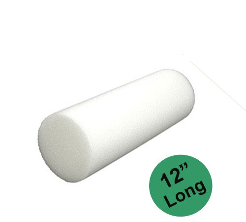 YogaAccessories (TM) 12'' Pilates Foam Roller - White