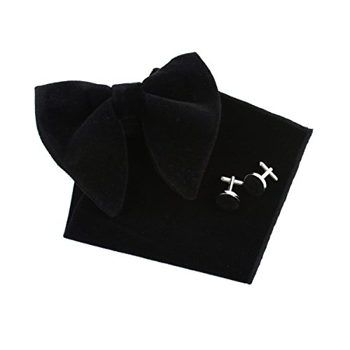 (Levao Men's Velvet Vintage Bow Tie Tuxedo Big Bowtie, Hanky Square, Cufflinks Set KR2233 Black)