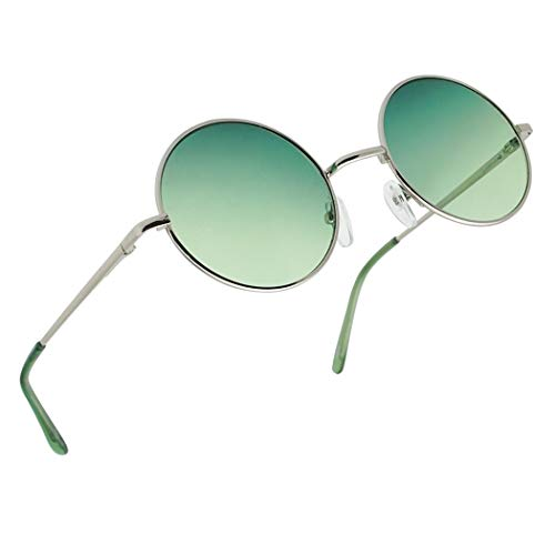 Sunglass Stop - Small Retro Vintage Lennon Style Round Thin Circle Metal Color Tint Sunglasses (Green Lens)
