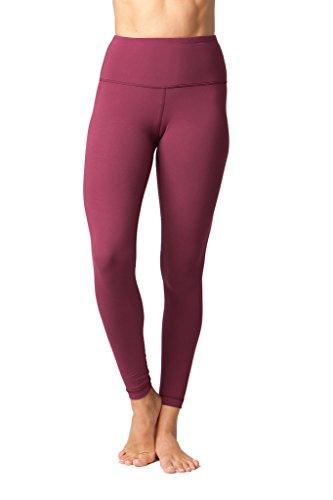 Yogalicious High Waist Ultra Soft Lightweight Leggings - High Rise Yoga Pants- Cherry Jubilee - Medium