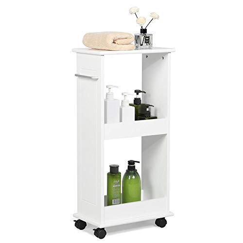 (Yaheetech Slimline Rolling Bathroom Kitchen Organizer Narrow Storage Cart 2 Shelf Space Saver)