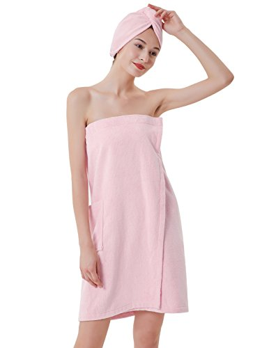 Pink Ladies Clothes (Women's Towel Wrap Bathrobe Terry Cloth Cover Up for Ladies Pink)