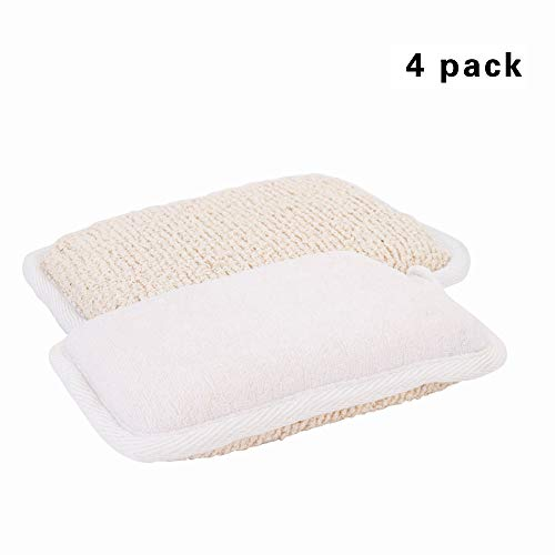 ARTRA And Cotton Scrubber Exfoliating Natural Flax And Cotton Scrubber Brush Close Skin for Men and Women Perfect For Bath Spa And Shower Exfoliating 4 Packs (White)