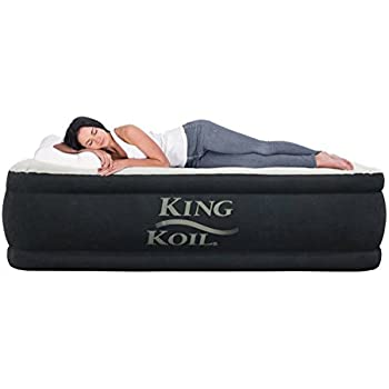 King Koil QUEEN SIZE Luxury Raised Air Mattress - Best Inflatable Airbed with Built-in Pump - Elevated Raised Air Mattress Quilt Top & 1-year GUARANTEE
