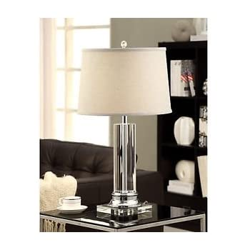 Crystal Table Lamp For With Grey Shade For Your Home Décor Or Office. A  Great