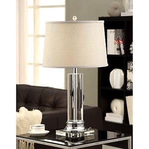 Crystal Table Lamp for with Grey Shade for Your Home Décor or Office ...