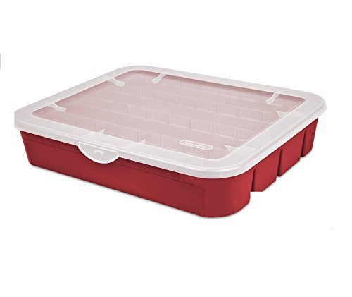 Sterilite Red Holiday Ornament Adjustable Storage Container Organizer Case- Holds 32 Orrnaments