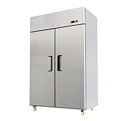 """52"""" Double 2 Door Side By Side Stainless Steel Reach in Commercial Refrigerator, 49 Cubic Feet, for Restaurant"""