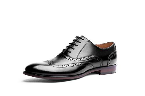 Grano Vestir de 43 de Color Completo Hombres los Cuero EU Retros Formales Black tallados de Black británicos Ruiyue Size para Zapatos Zapatos Bullock del Oxford ABn6xY