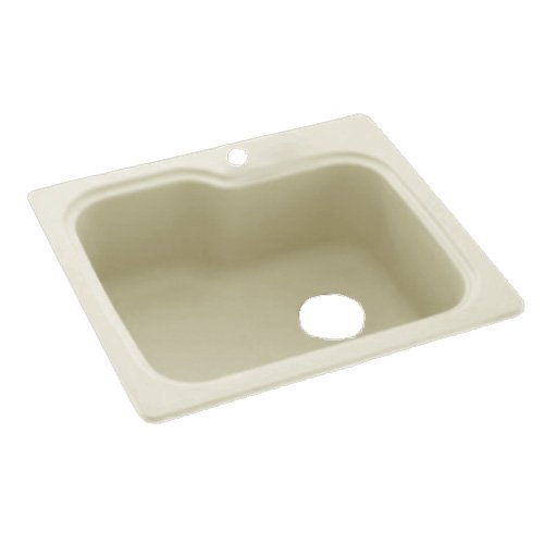 (Swanstone KS02522SB.037 Solid Surface 1-Hole Dual Mount Single-Bowl Kitchen Sink, 25-in L X 22-in H X 9-in H, Bone)
