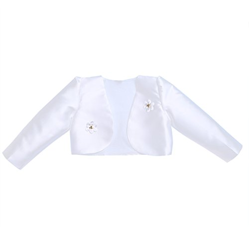 Freebily Kids Girls Long Sleeves Bolero Jacket Shrug Short Cardigan Sweater Dress Cover up (8-9, White) by Freebily