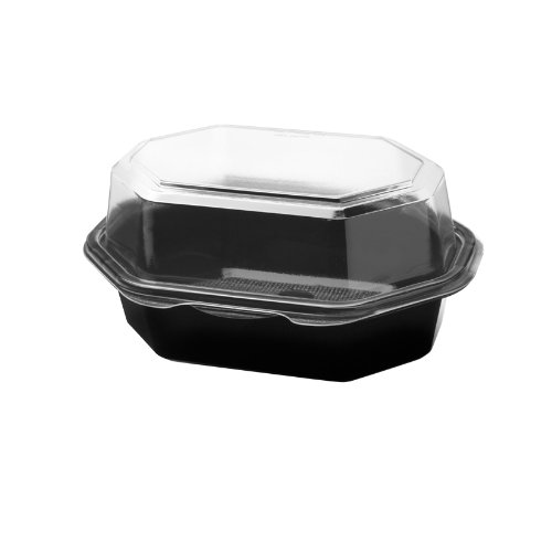 SOLO 861012-PM94 Creative Carryouts Polystyrene Hinged Box for Hot Deli, Snack, and Specialty Foods, 6.8'' x 5'' x 3.2'', Black/Clear (Case of 200) by Solo Foodservice