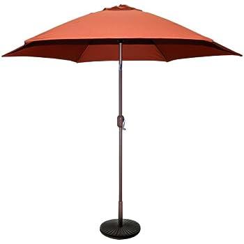 TropiShade 9 Ft Bronze Aluminum Patio Umbrella With Rust Polyester Cover