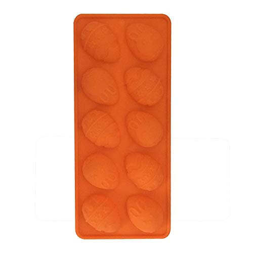 Konxxtt Ten-Hole Bunny Easter Eggs Row Cake Mould Chocolate Soap Silicone Mold Baking Ice Tray Accessory Party Supplies(Orange,23.2 x 10cm) -