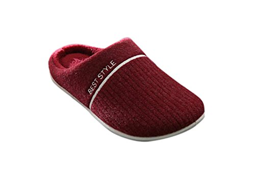 KISS GOLD(TM) Unisex Soft Fleece Lined Washable Slip On House Slippers Wine Red 3G3iuIHm68