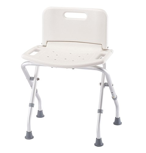 (Folding Bath Seat with Back Support, Portable Shower Bench, White)
