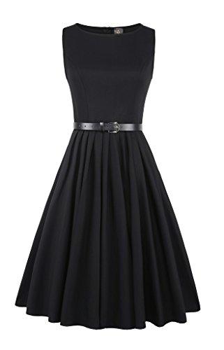 Elf Queen Women's Elegant Vintage 1950's Swing Sleeveless Evening Dress US Size M Black