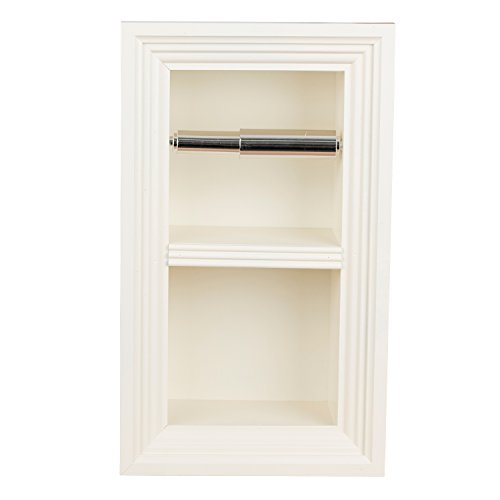 Paper Breeze - Florida Breeze Cabinets Zephyr Recessed Toilet Paper Holder with Spare Roll, Antique White