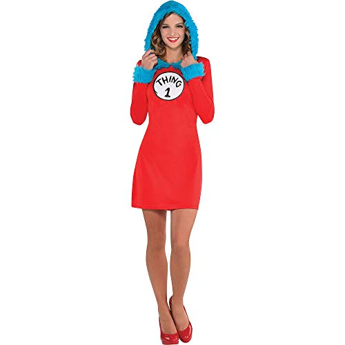 Costumes USA Dr. Seuss Thing 1 & Thing 2 Hooded Long-Sleeve Dress for Women, Standard, Includes 2 Patches -