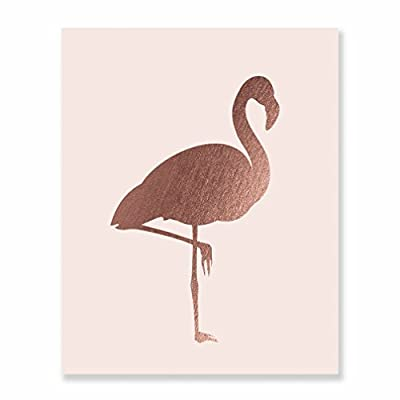 Modern Flamingo Rose Gold Foil Blush Pink Wall Art Print Tropical Bird Beach House Decor Vacation Poster Nursery Art Boho Chic 5 inches x 7 inches C6
