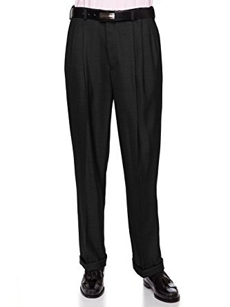 Wool Front Zip Pants (Giovanni Uomo Mens Pleated Front Dress Pants With Hidden Expandable Waist Black-34 Short)
