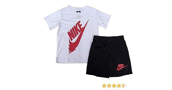 Nike Little Boys - Juego de Camiseta y Pantalones Cortos para niño, 2 Piezas, Talla 6, 7, (5-6 años), Blanco/Negro: Amazon.es: Deportes y aire libre