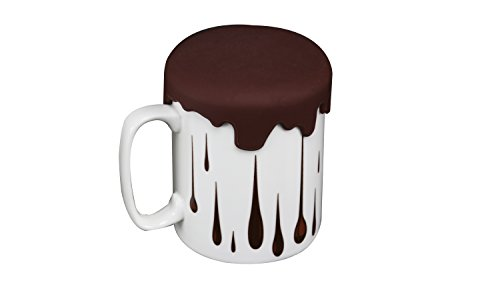 Ceramic Mug Coffee Cup with Silicone lid coaster Creative Unique design Color 12oz(Brown) (Design 12 Oz Ceramic Mug)