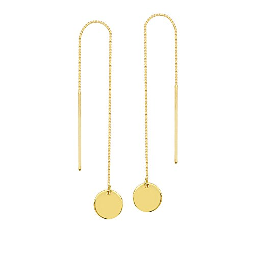 Threader Earrings 14K Yellow Gold Polished Flat Disk and Bar with Box Chain 14k Yellow Gold Threads