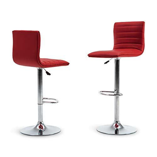 (Belleze Swivel Faux Leather Adjustable Hydraulic Bar Stool, Set of 2, (Red))