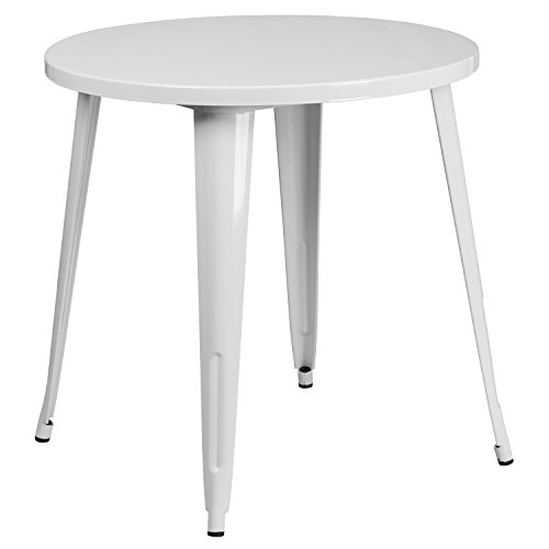 Metal Retro Round Table - Flash Furniture 30'' Round White Metal Indoor-Outdoor Table