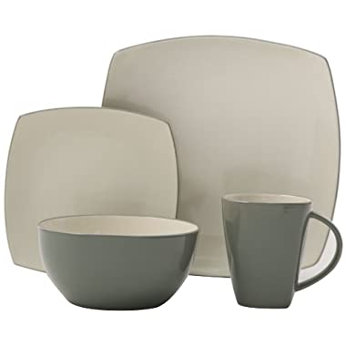 Gibson Tutone Soho Lounge 16-Piece Square Dinnerware Set, Green and Ivory
