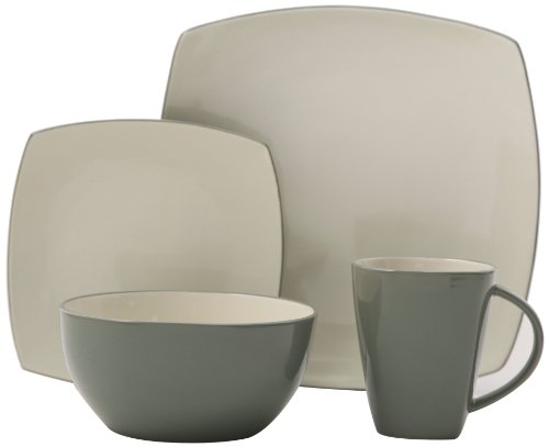 Gibson Overseas, Inc. Gibson Home 100142.16RM Soho Lounge Square 16-Piece Reactive Glaze Dinnerware Set Service of 4, Stoneware, Celadon,