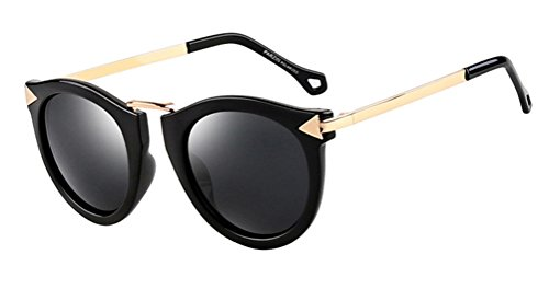 Hiven Retro Arrow Big Round-Framed Resin Polarizer Sunglasses - Fast Womens Track Sunglasses For