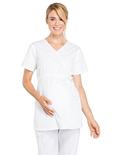 Cherokee Professionals by Workwear Women's Maternity Mock Wrap Soft Knit Panel Solid Scrub Top Small White