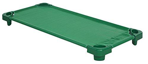 ECR4Kids Standard Stackable Assembled Kiddie Cot, Green - 5 Pack