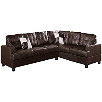 Poundex Bobkona Karen Bonded Leather 2-Piece Reversible Sectional Sofa Espresso  sc 1 st  Amazon.com : brando sectional - Sectionals, Sofas & Couches