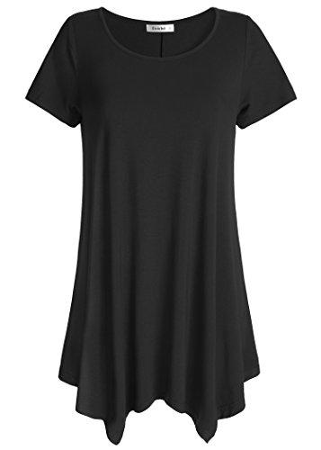 Esenchel Women's Short Sleeve Tunic Shirt Loose Fit Leggings Top XL Black